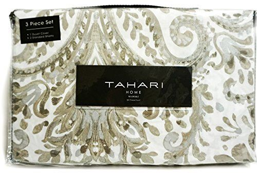 Tahari Elena 3pc Duvet Cover Set Paisley Medallion Taupe Beige Grey Silver White Luxury Cotton Sateen Queen -- Want to know more, click on the image.