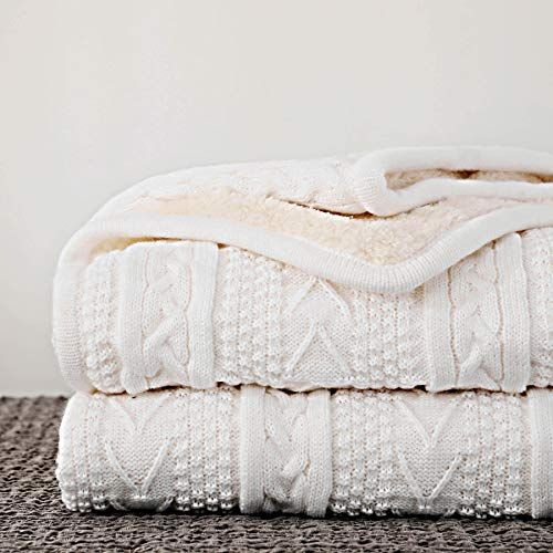 Longhui Bedding Acrylic Cable Knit Sherpa Throw Blanket Thick
