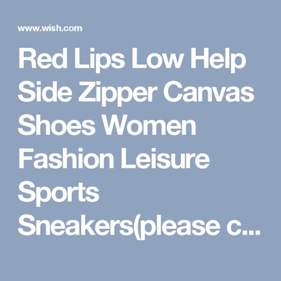 Red Lips Low Help Side Zipper Canvas Shoes Women Fashion Leisure Sports Sneakers(please choose a large shoes)