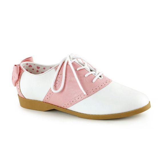 Retro 50/'s Saddle Oxfords Halloween Women/'s Costume Flat Shoes w// Back Bow