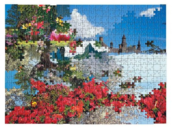 Collages with puzzle pieces from different puzzles. Now that's right brained creative.