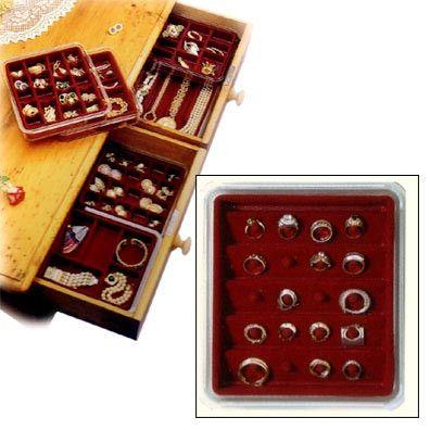 "Velvet Jewelry Tray - Stacking 20 Ring Holder (Burgundy) (1.5"" H x 8.25"" W x 9.25"" D)"