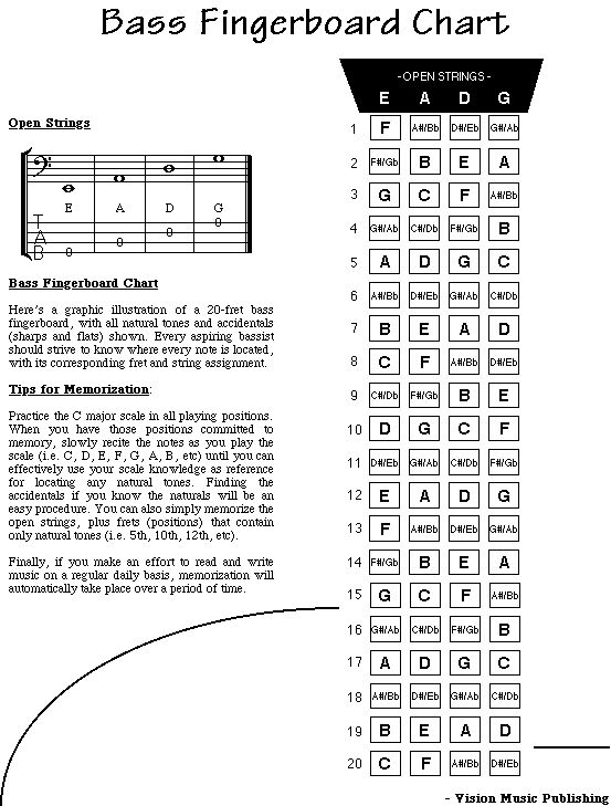 4 String Bass Guitar Notes 98 Use This Chart To Familiarize Yourself With The Fingerboard