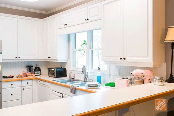 Arches minimal and home depot on pinterest for Can you replace kitchen cabinets without replacing countertop