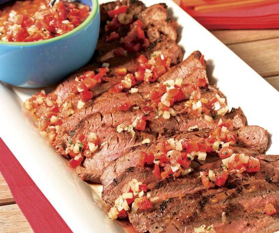 Argentine Spice-Rubbed Flank Steak with Salsa Criolla | Recipe | Flank ...