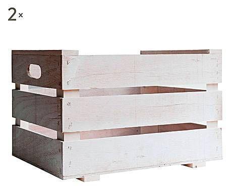 CAJAS Y CAJONES: Set de 2 cajas de almacenaje, Madera - Blanco
