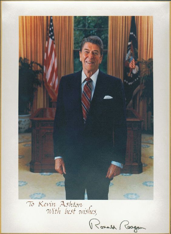 A signed photo to me from President Reagan