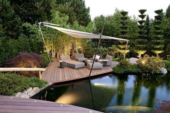 gestaltungsideen garten landschaftsbau terrasse lounge teich - terrassengestaltung mit wasserbecken