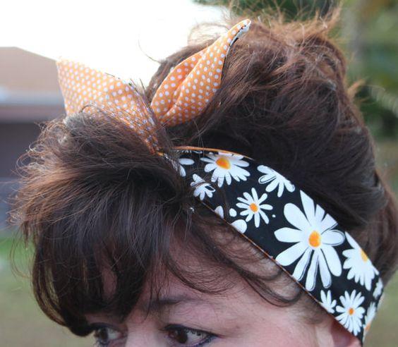 Reversilbe Dolly Bow Wire Headband Black with Large by Lorettajos