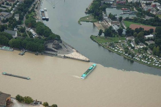 Confluece of the Mosel and Rhine Rivers in Koblenz, Germany