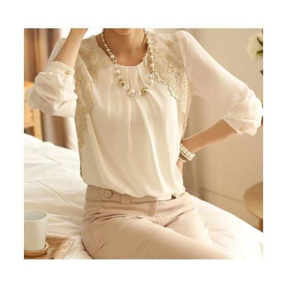 New Women Vintage Chiffon Blouse Long Sleeve Lace Tops Basic Shirt... ($16) ❤ liked on Polyvore featuring tops, blouses, long sleeve chiffon blouse, chiffon blouse, white lace blouse, white chiffon shirt and white lace top