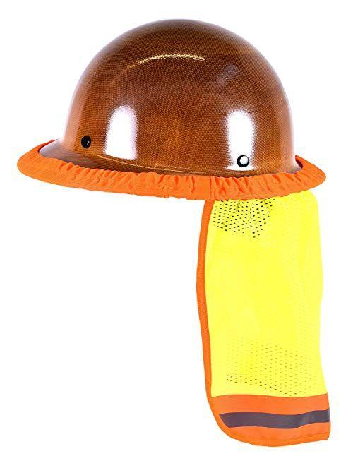 Orange Or Lime STRIPE SAFETY HARD HAT NECK SHIELD