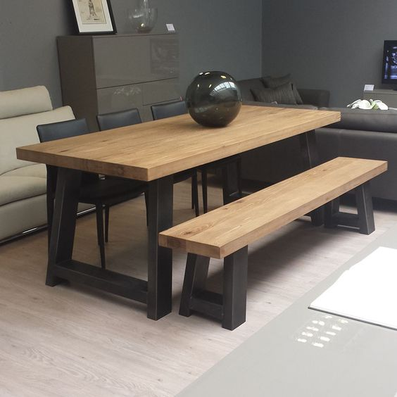 Dinette Bench Seating: Zeus Wood & Metal Dining Table. Scott Doesn't Like The