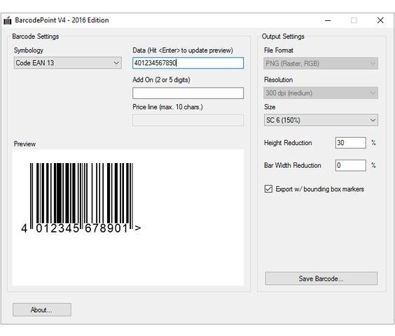 Free barcode maker, creates EAN/UPC, Windows only