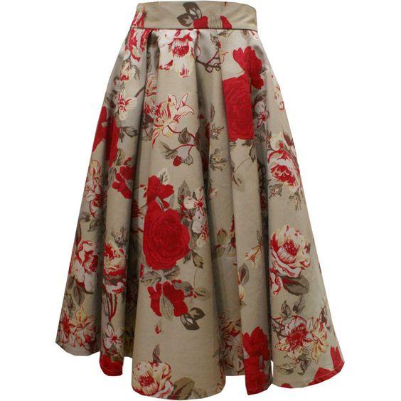 Saia Godê Midi Bege de Flores Vermelhas com Duas Pregas Macho. - Atelier Luiza Pannunzio: