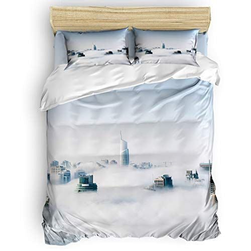 Queen Size 4 Piece Duvet Cover Set Mist Shrouded City Fade Stain