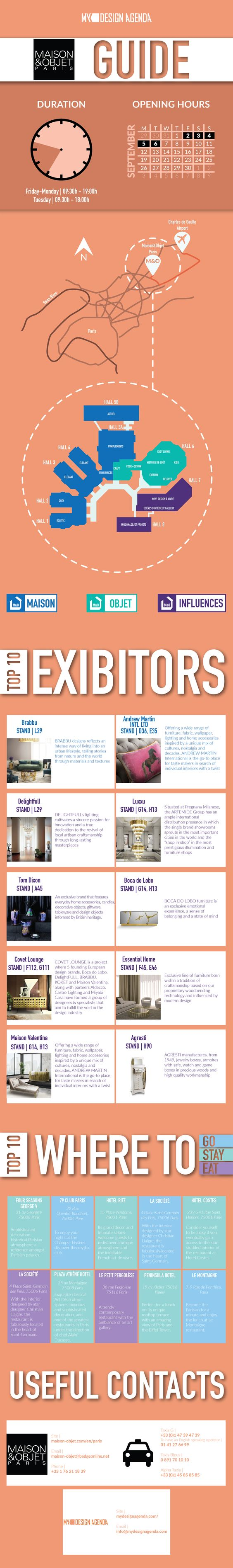 Do you want to know what are the highlights of Maison&Objet Paris? Check out this new infographic where you can find the top 10 exhibitors, top 10 places to go, eat and stay, as well as some important contacts in case you need to ask some questions or call a cab, once you are getting there. Click to download! | #MO16 #interiordesign #infograph
