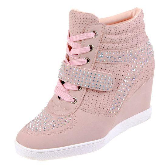 Dames wedge sneakers met sleehak en strass roze