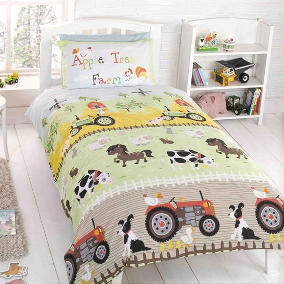 Farm Tractor Bedding : Kids bedding with tractor farm duvet cover set