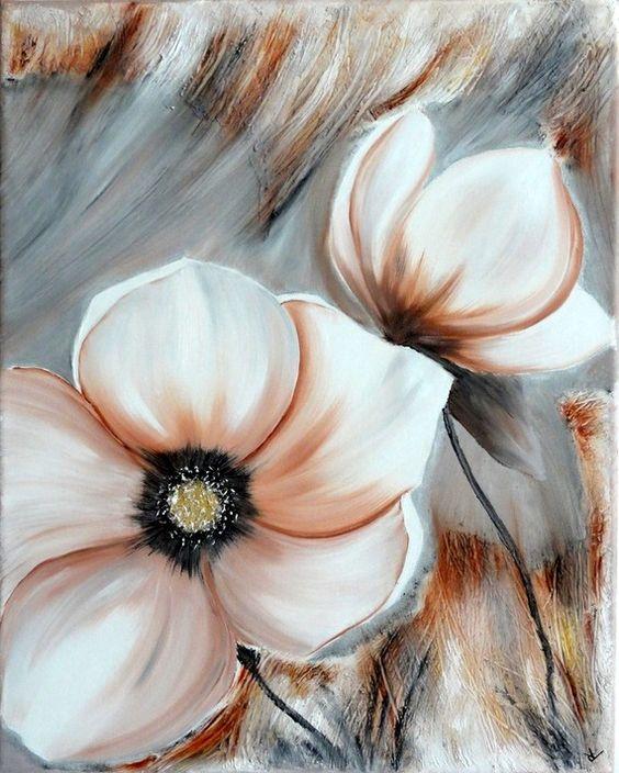 Peinture fleurs couleurs d 39 automne - Peinture fleur moderne ...