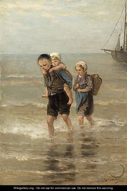 Children At The Beach - Bernardus Johannes Blommers