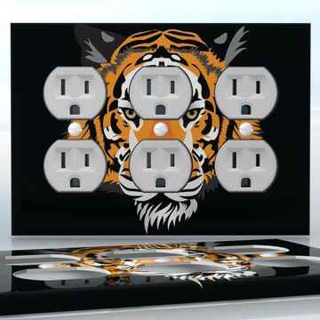 Diy do it yourself home decor easy to apply wall plate wraps out do it yourself home decor diy out of the dark half tiger face 3 gang wall socket duplex receptacle decal skin wrap sticker animals solutioingenieria Image collections
