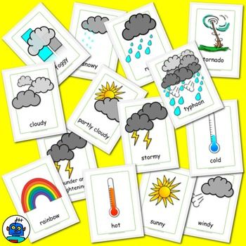 ESL Weather Flash Cards. Hot, cold, cloudy, typhoon ...