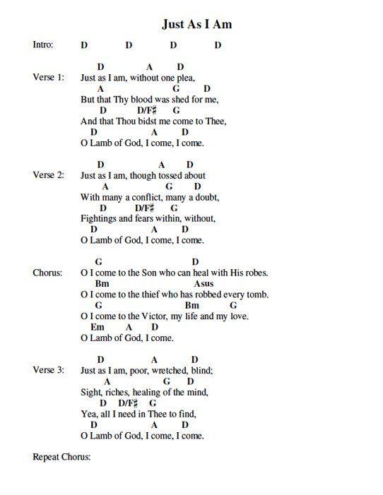 Just As I Am Chord Chart Music Chords Worship Songs Lyrics