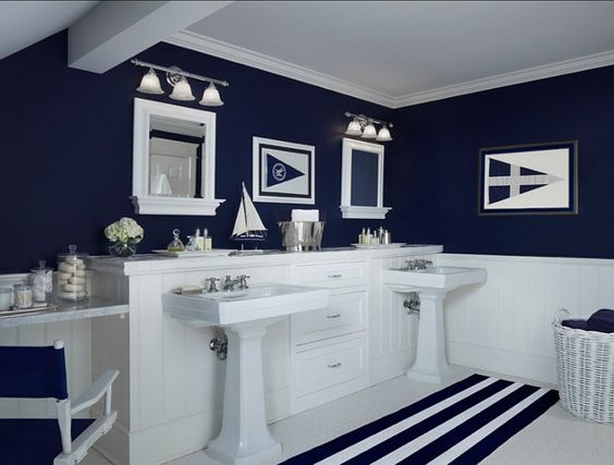 Navy walls with white beadboard for downstairs bath