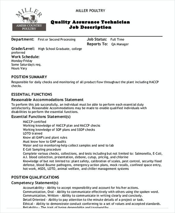 Quality Assurance Technician Job Description , Quality Assurance - quality assurance resume