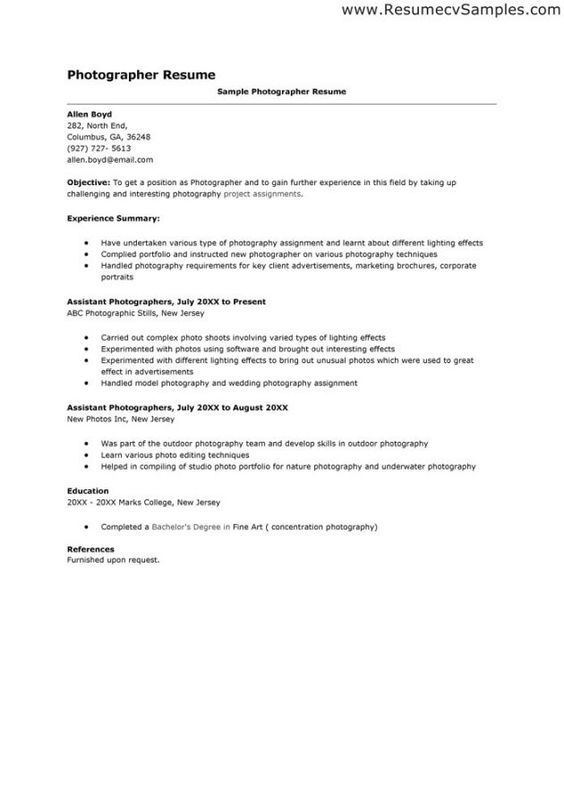 Photographer Cover Letter Examples Photography Pinterest - sample resume for photographer