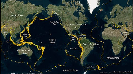 Earth's tectonic plates as revealed by earthquakes.