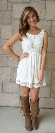 Little white dress  Bachelorette Party  Pinterest  Dress boots ...