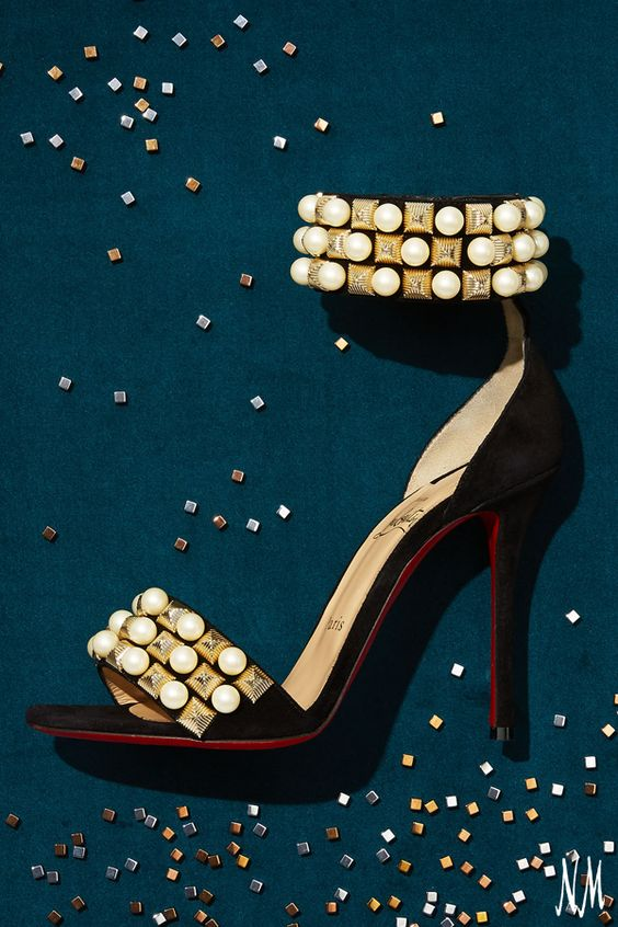 Embrace adorned d'orsay sandals for fall with styles by Christian Louboutin.
