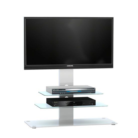 Kelbourne Lcd Tv Stand In White Glass With White Metal And Led In