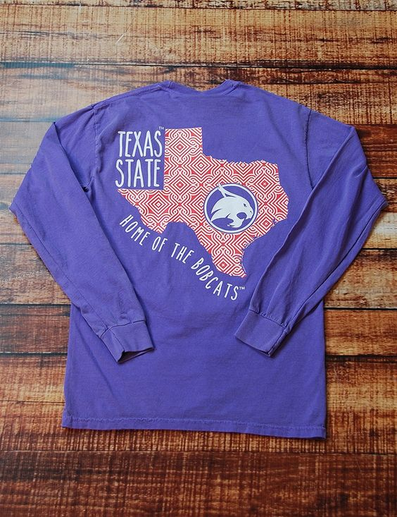 Everyone loves a great Comfort Color t-shirt!This awesome new long-sleeve t-shirt shows your love for Texas State University! Go Bobcats!
