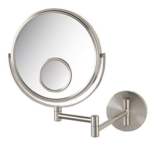 Jerdon Jp7510n 8 Inch Wall Mount Makeup Mirror 10x 15x Magnification Nickel Finish Wall Mounted Makeup Mirror Makeup Mirror Wall Mounted Mirror