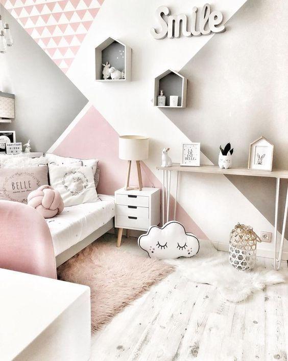 Paredes Geometricas En Dormitorios Infantiles Y Juveniles Decoracion De Habitaciones Decoracion De Paredes Dormitorio Decoracion De Dormitorios Juveniles