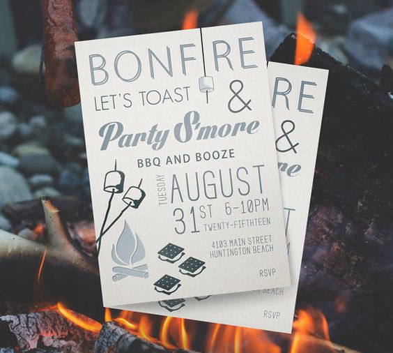 Custom Bonfire Invitation Printed or Digital Download by Propeel