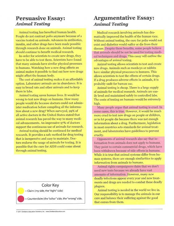 Spend time showing students the major differences between argumentative v. persuasive writing.