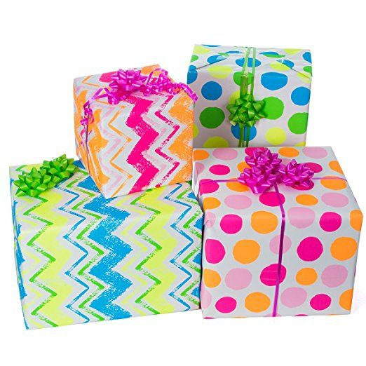 Amazon Com Gift Wrapping Paper All Occasion Wrapping Paper Wrapping Paper With Patterns Premium Neon Gift Wrap Gift Wrapping Diy Gift Wrapping Diy Gift