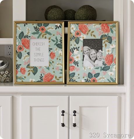 dollar store frames spray painted gold with wrapping paper mats | 320 Sycamore Blog