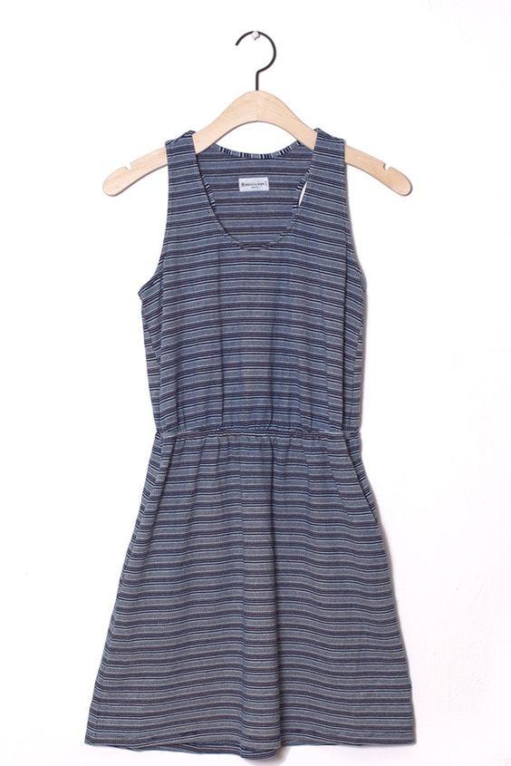 Fleer Indigo Jacquard Stripe Dress