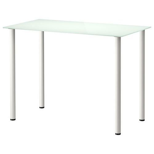 Ikea Glasholm White Glass Top Desk with Adils White Legs - A table top in  tempered glass is stain
