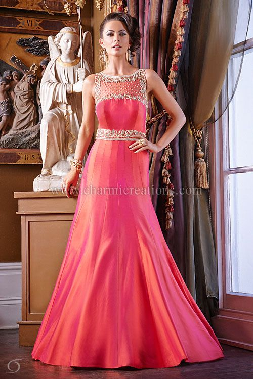 Evening gowns 2 tone coral and orange fusion wedding for Indian fusion wedding dress
