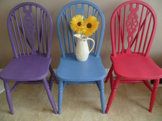 3 x vintage shabby chic wooden wheel back coloured chairs in annie ...