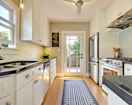 4 Decorating Ideas  How to Make a Galley Kitchen Look Bigger Narrow kitchens Artwork and Kitchens