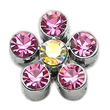 "Miragepet 3/8"""""""" Slider Flower Pet Dog Dangle Chrome Plated Crystal Accent Charm Pink 3/8"