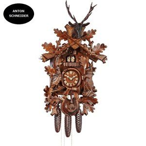 German Cuckoo Clock 1-day-movement Carved-Style 14.00 inch Authentic black forest cuckoo clock by Anton Schneider