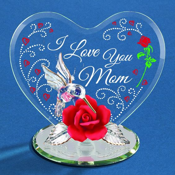 Glass Baron I Love You Mom Hummingbird Figurine #mothersday #mom #glassbaron #rose #heart